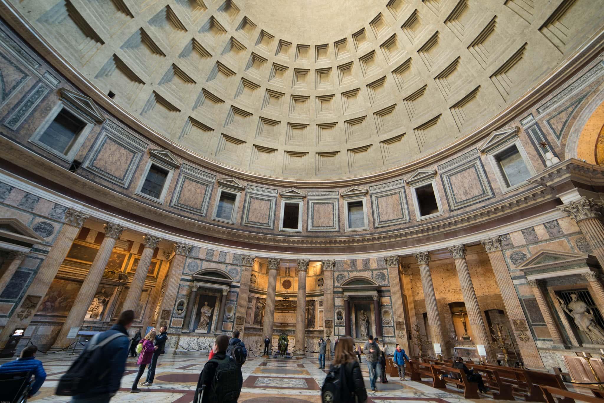 Pantheon Rome Italy interior tourists