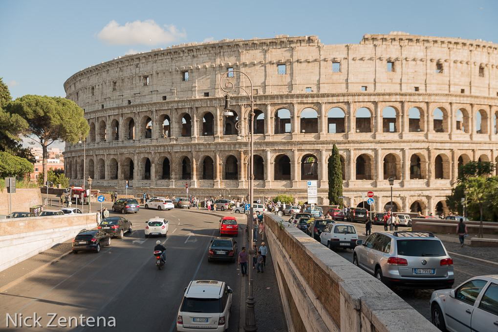 View of the Colosseum from the bridge