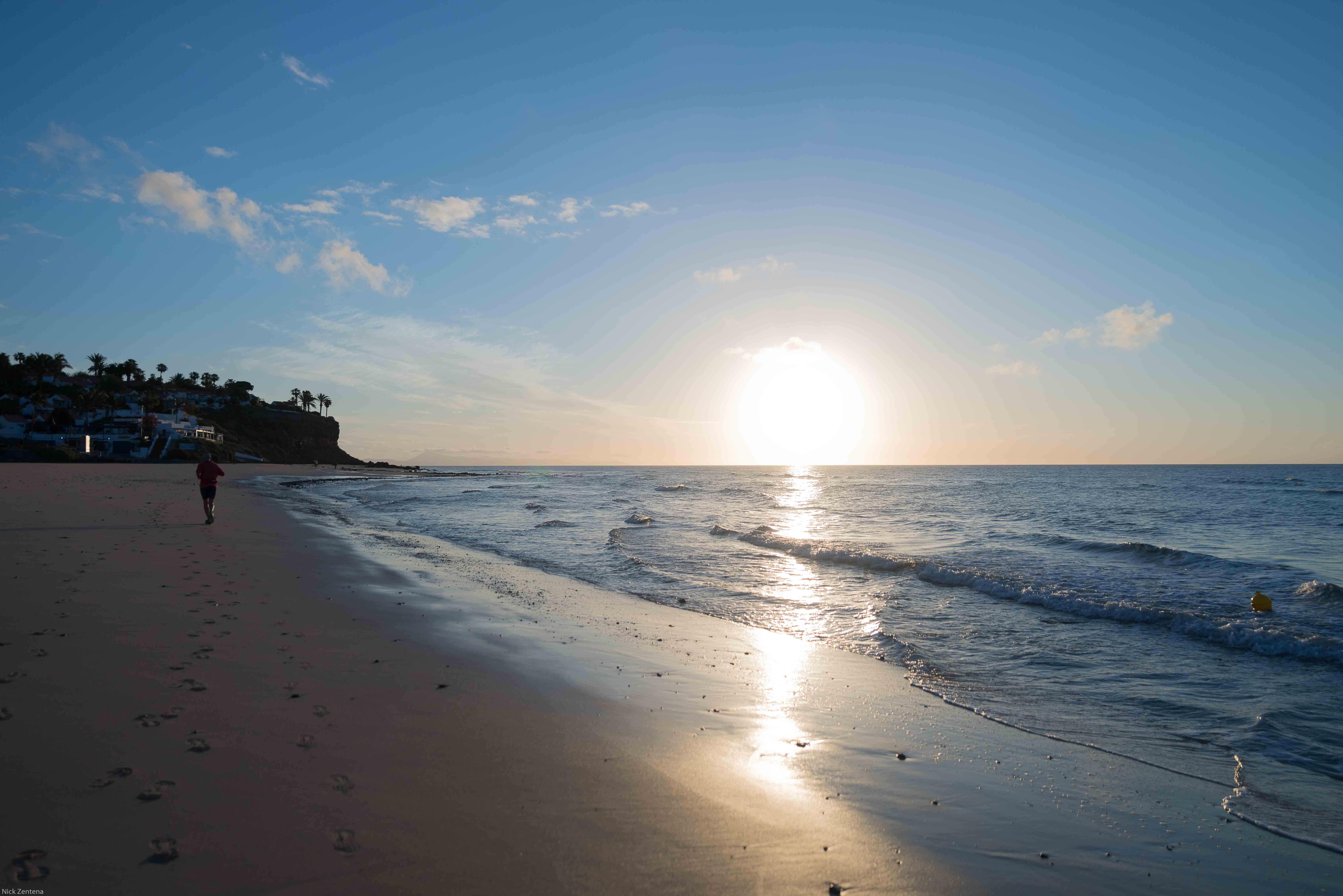 Sun rising over Playa del Matorral Beaches of Morro Jable