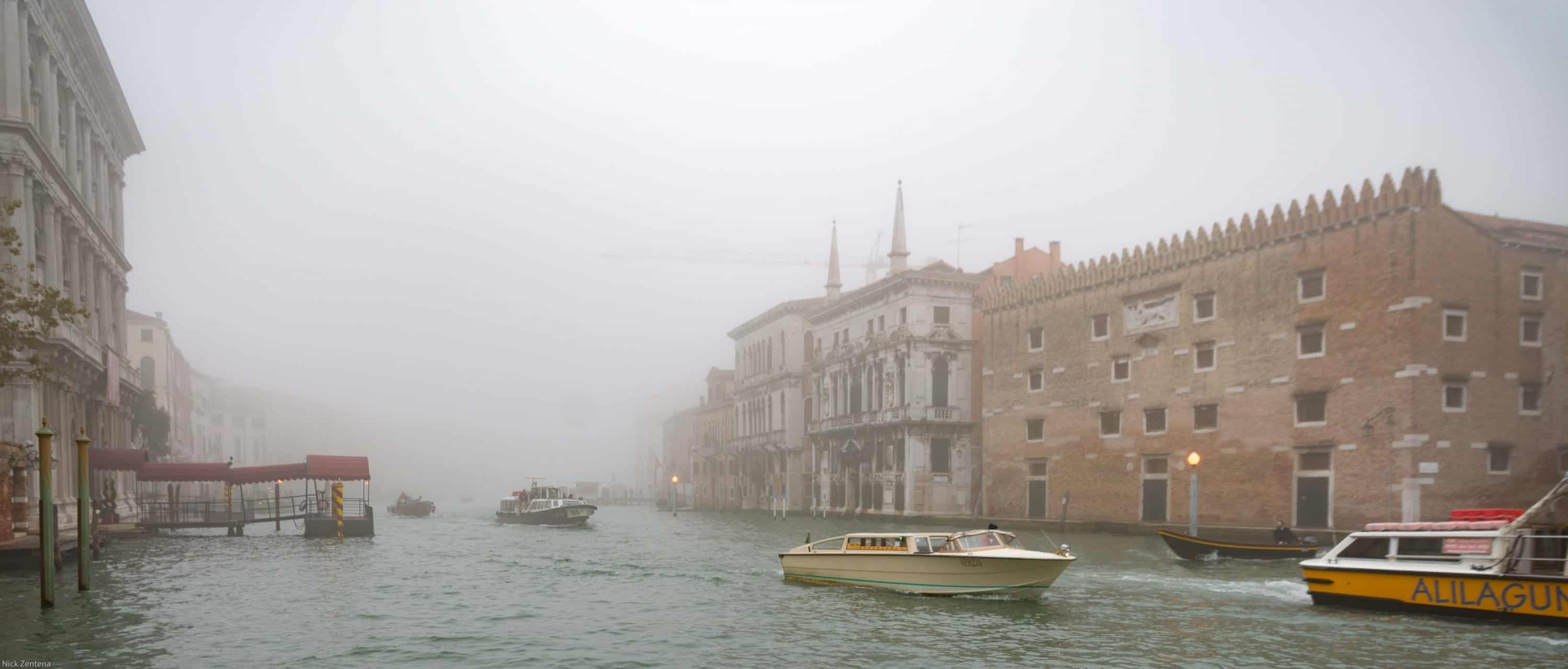 Fog over a canal in Venice Italy